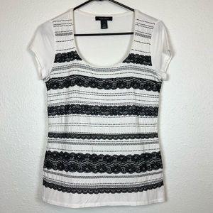 White House Black Market Tops - White House Black Market black lace T-shirt small